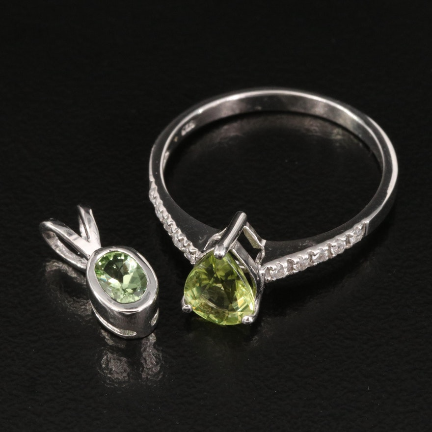 Sterling Ring and Pendant Featuring Tourmaline, Peridot and White Topaz