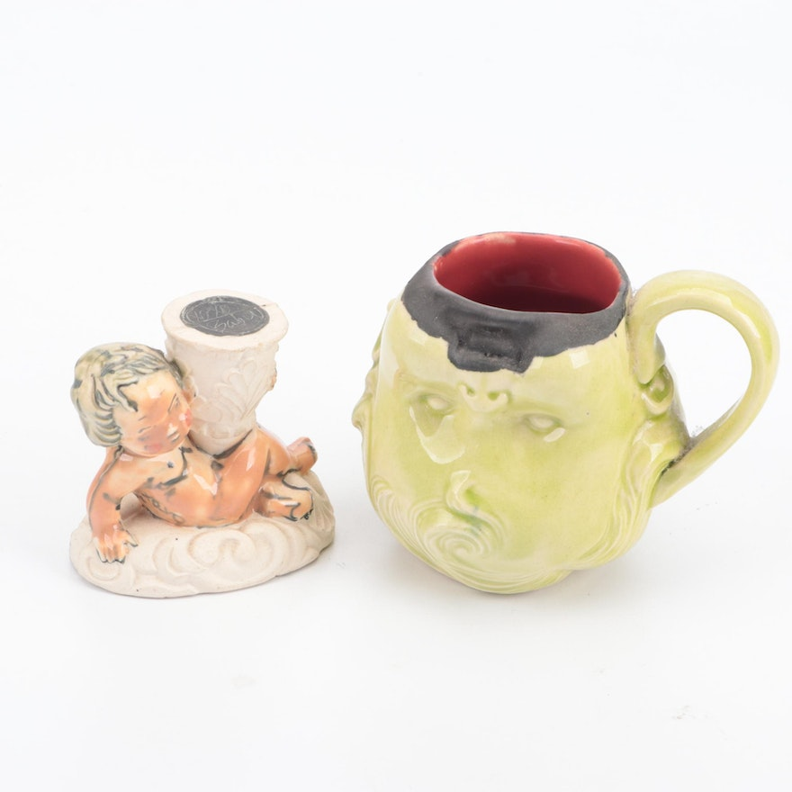 Columbus Ceramic Baby Head Cup and Small Angel Figurine