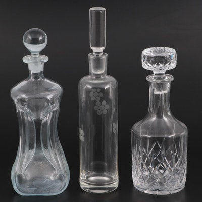 """Cut Crystal, """"Klukflasker"""" and Other Glass Decanters with Stoppers"""