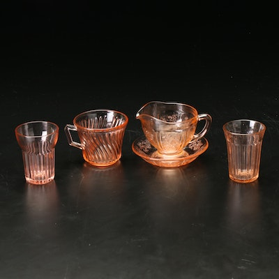 Pink Clear Glass Cream Pitcher, Cups and Bowls