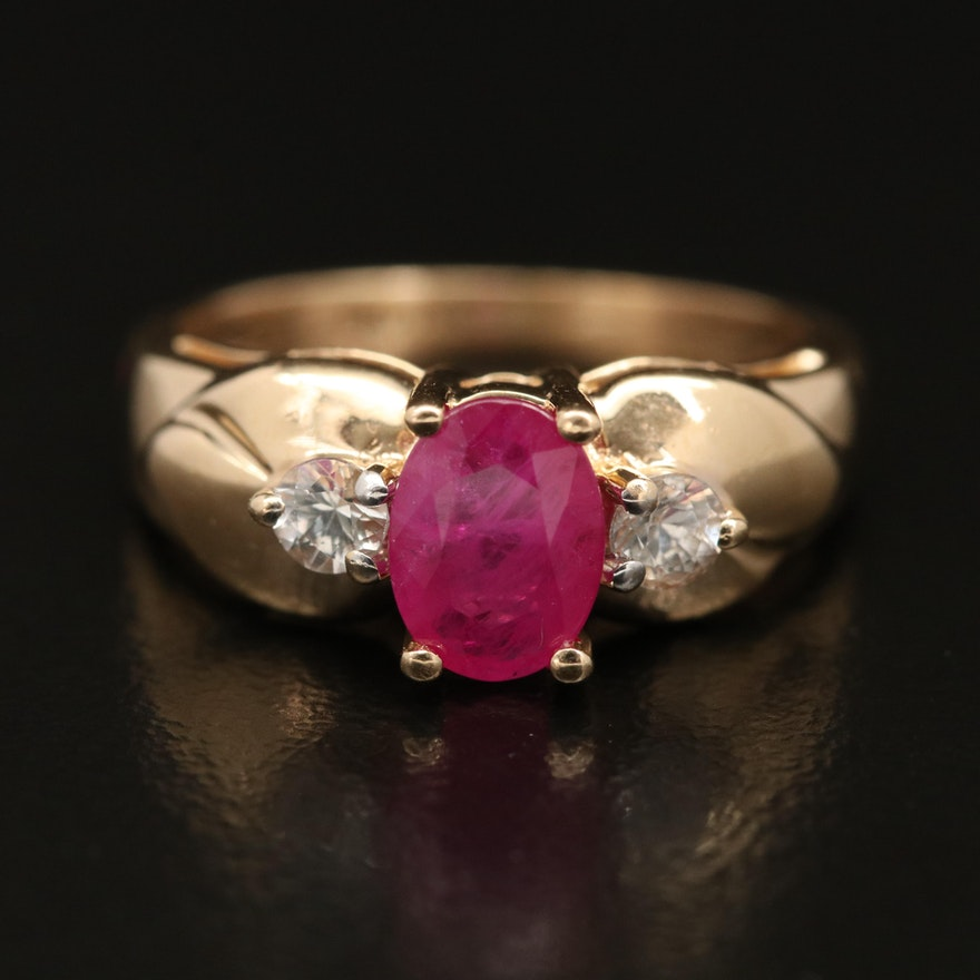 14K Ruby and White Sapphire Ring