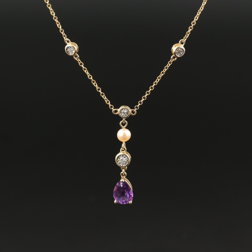 10K Amethyst, Diamond and Pearl Lavalier Necklace