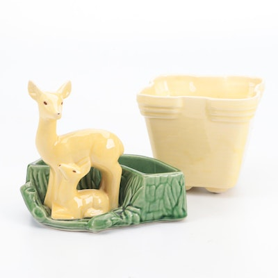 Shawnee Pottery Glazed Ceramic Doe and Fawn Planter and Other Planter