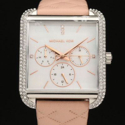 Michael Kors Drew Crystal and Mother of Pearl Stainless Steel Quartz Wristwatch