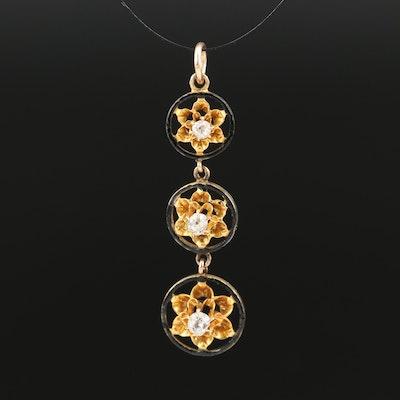 Edwardian 10K Buttercup Set Diamond Drop Pendant