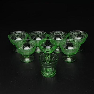 Green Depression Glass Sorbet Glasses