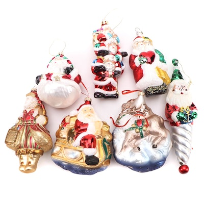 Blown Glass Santa Ornaments, Late 20th to 21st Century