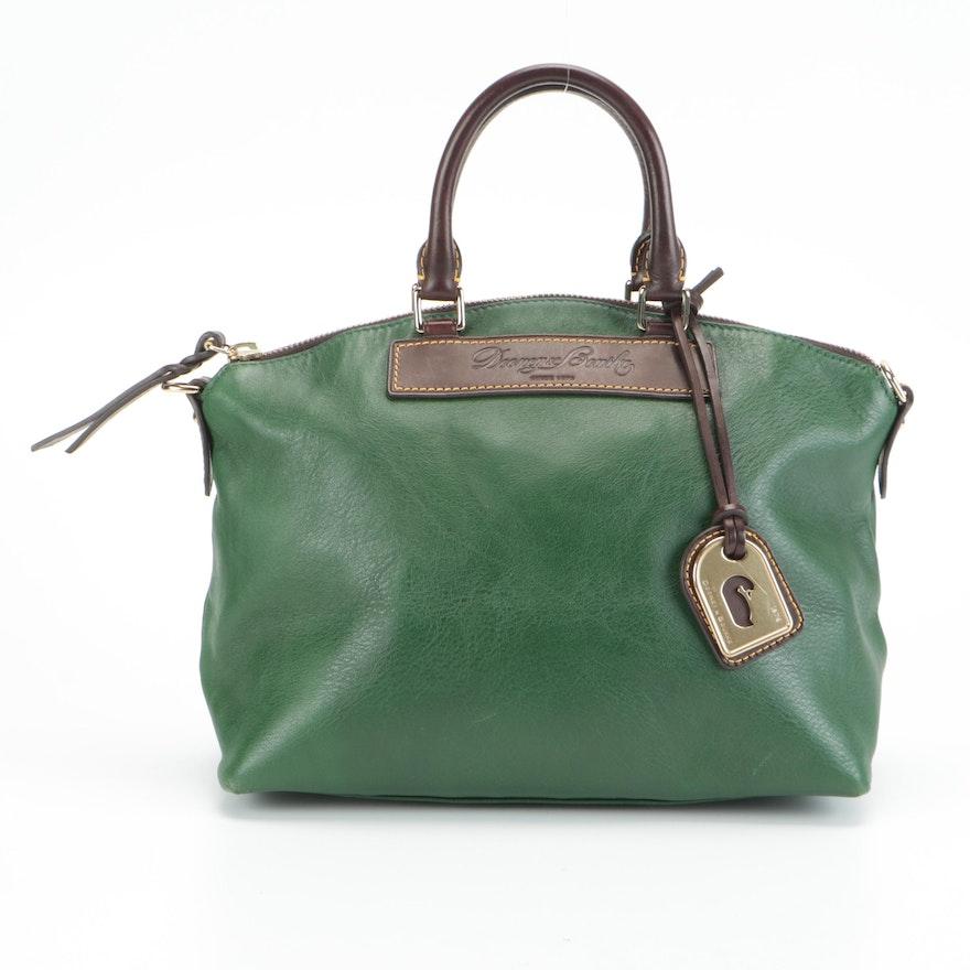 Dooney & Bourke Domed Handbag in Green Full-Grained and Florentine Leather
