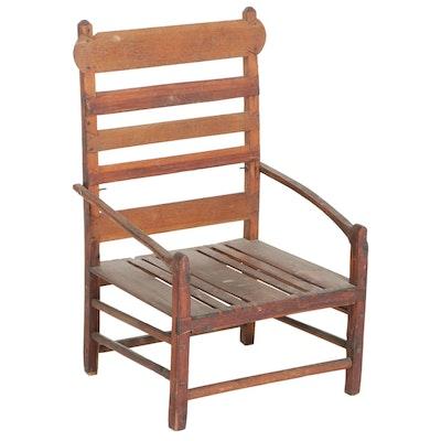 Primitive Folk Art Ladderback Wood Chair, Early 20th Century