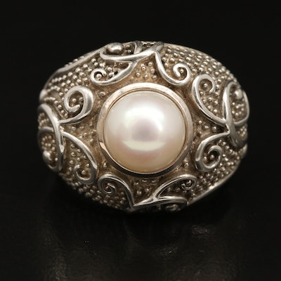 Sterling Silver Pearl Scrollwork and Granulation Ring with 14K Accent