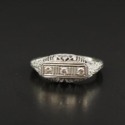 Vintage 18K Diamond Filigree Ring