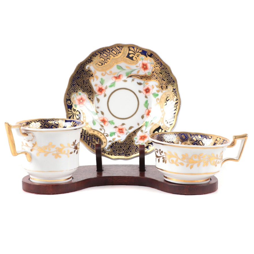 English Imari Porcelain Teacups and Saucer on Wooden Stand, Early to Mid 19th C.