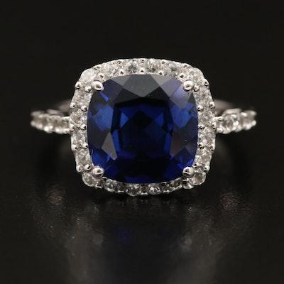 10K Sapphire Halo Ring