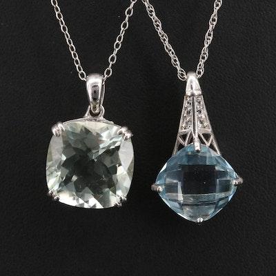 Sterling Prasiolite and Gemstone Pendant Necklaces