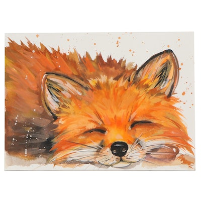 """Anne """"Angor"""" Gorywine Watercolor Painting of Fox, 2021"""