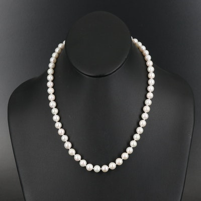 Single Strand Pearl Necklace with 14K Clasp