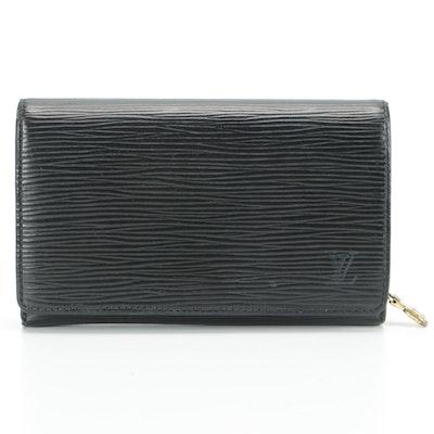 Louis Vuitton Porte-Monnaie Flap Wallet in Black Epi Leather