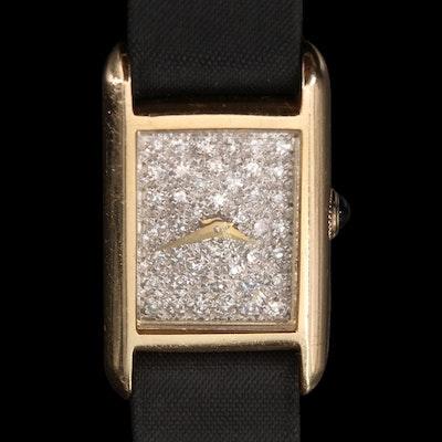 Vintage Baume & Mercier 14K Yellow Gold and Diamond Stem Wind Wristwatch