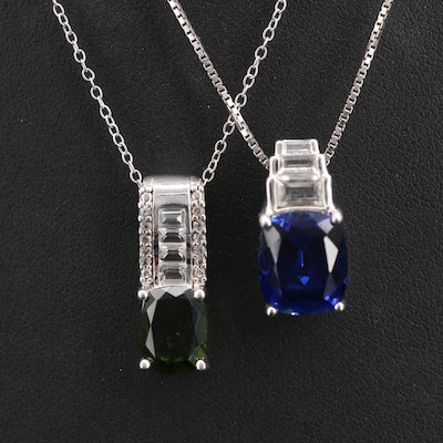 Sterling Sapphire and Diopside Pendant Necklaces