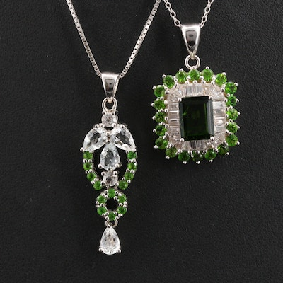 Sterling Diopside and Sapphire Pendant Necklace