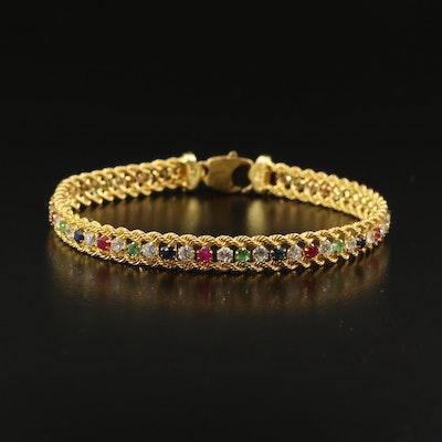 18K Gemstone Double French Rope Bracelet