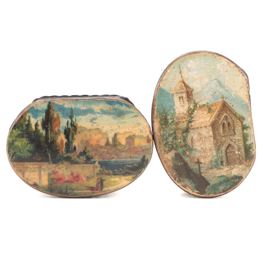 Lacquered Papier-Mâché Souvenir Snuff Boxes, 19th Century