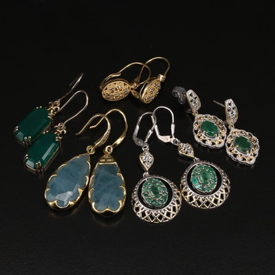 Sterling EarringS Including Aquamarine, Emerald and Other Gemstones