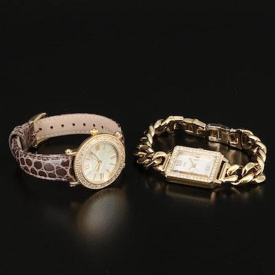 "Judith Ripka Topaz ""Summit"" and Diamonique Cubic Zirconia ""Curb Link"" Watches"