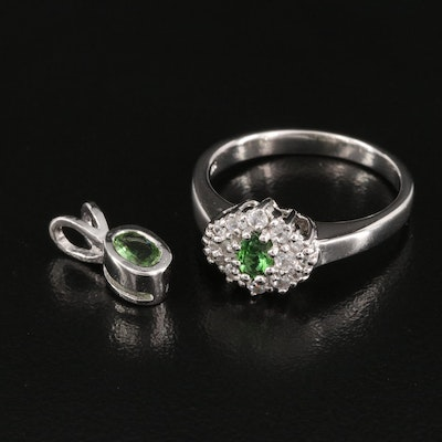Sterling Silver Ring and Pendant Featuring Tourmaline and White Topaz