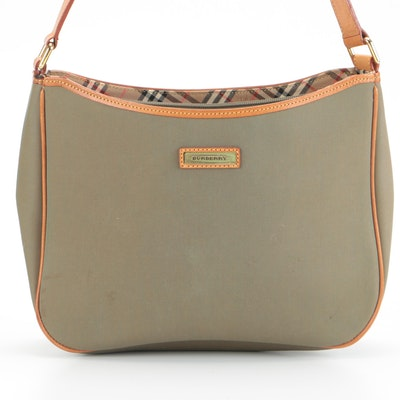 Burberry Shoulder Bag in Green Nylon with Tan Leather Trim