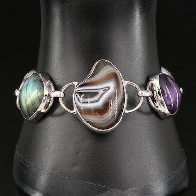 Sterling Silver Labradorite, Amethyst and Agate Link Bracelet
