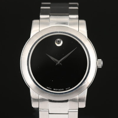Stainless Steel Movado Museum Black Dial Wristwatch