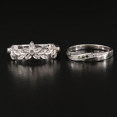 Sterling Silver Diamond and White Zircon Bands