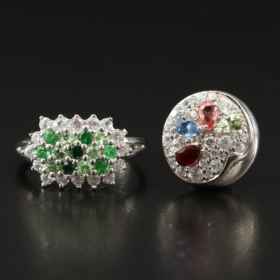 Sterling Silver Tsavorite, White Zircon and Sapphire Ring and Pendant