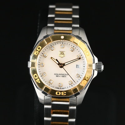 TAG Heuer Aquaracer Diamond, Mother of Pearl 18K and Stainless Steel Wristwatch