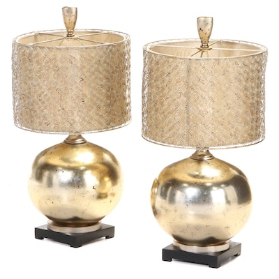 Pair of Uttermost Lighting Gilt Metal, Glass, and Molded Resin Table Lamps