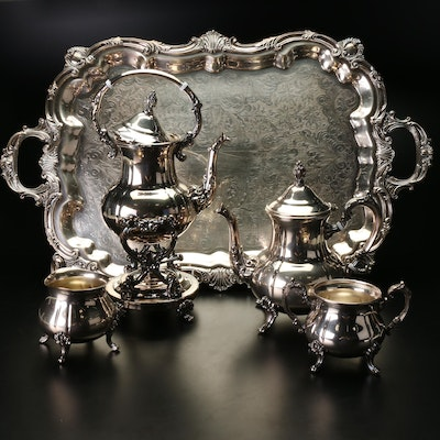 Towle Silver Plated Tea Set With Serving Tray
