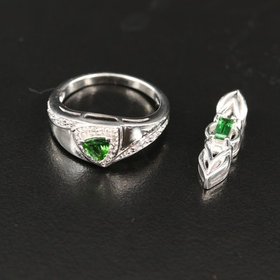 Sterling Silver Tsavorite and White Zircon Ring and Pendant