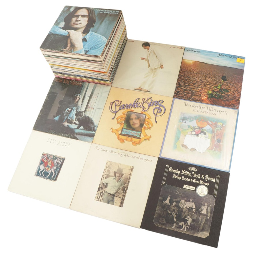 James Taylor, Paul Simon, Carole King and Other Vinyl Records, Mid-20th C.
