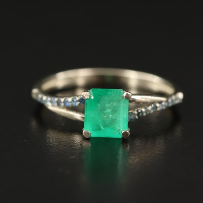 14K Emerald and Sapphire Ring