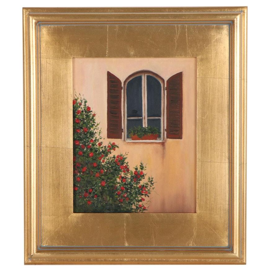 """Sanna Oil Painting """"Rose Window,"""" 2014"""