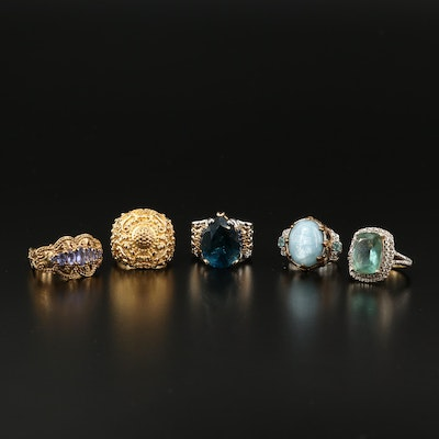 Sterling Silver Ring Selection Featuring Tanzanite, Quart and Topaz Accents