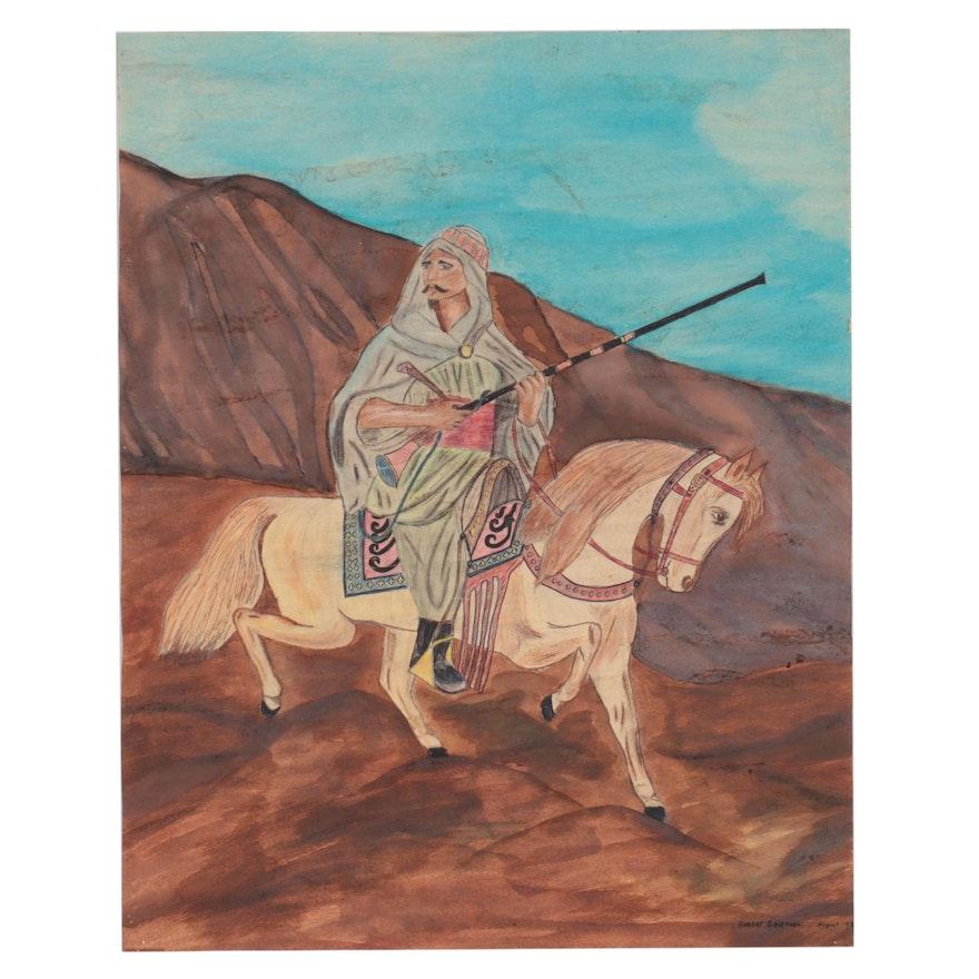Robert Griefnow Watercolor Painting of Man on Horseback, 1972