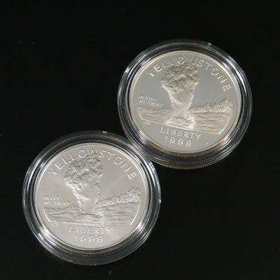 1999 Two-Coin Yellowstone National Park Commemorative Silver Dollar Set