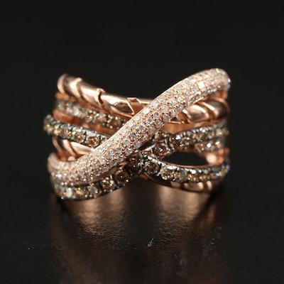 14K 1.41 CTW Diamond Crossover Ring