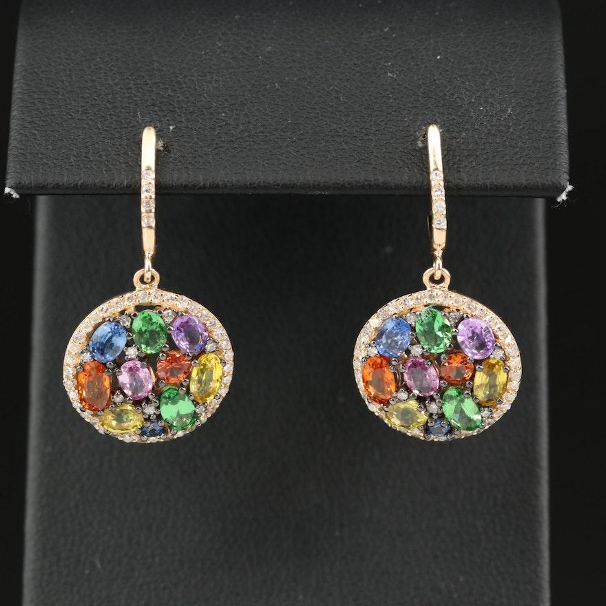 EFFY 14K Multicolor Sapphire and Diamond Drop Earrings