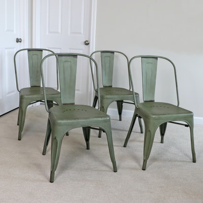 Four Industrial Style Steel Splat-Back Stacking Side Chairs in Green Finish