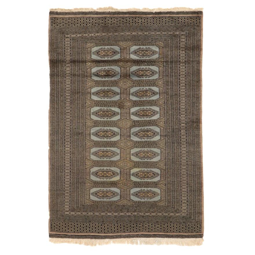 4'3 x 6'8 Hand-Knotted Pakistani Bokhara Area Rug