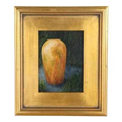 """Sanna Still Life Oil Painting """"Golden Jar,"""" 2014"""