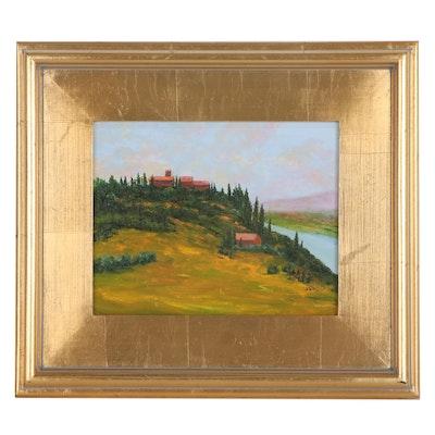 """Sanna Oil Painting """"Village on the Hill,"""" 2014"""